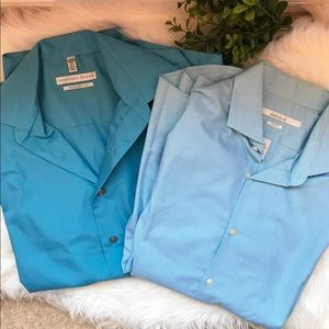 MENS 2 blue bundle dress shirts